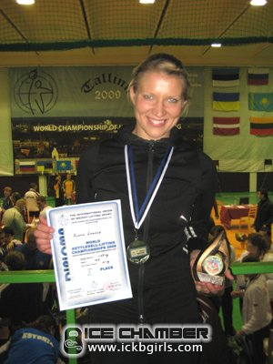 Kukka won 1st place and was named Best Overall in the 16kg Snatch event at the IUKL's European Championship in 2009